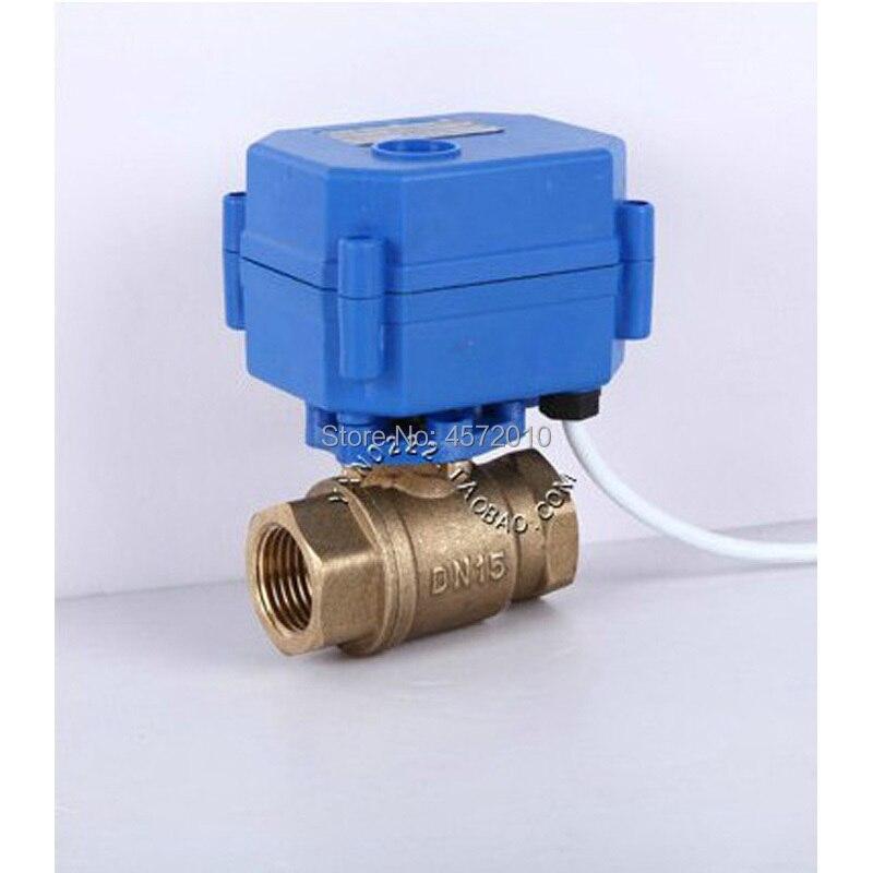 Válvula de bola DN25 motorizada bidireccional de latón de 1 pulgada DC5V 12V 24V AC220V, válvula de agua eléctrica de 1