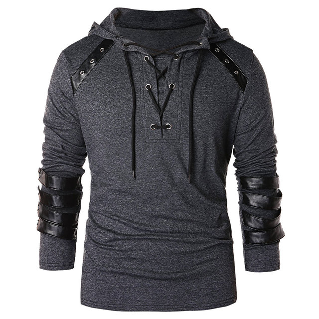 630c2d80c5e1d Hemiks Men Lace Up Faux Leather Hoodie Fashion Cool Long Sleeve Hooded  Spring Autumn Men S Pullovers Tops Casual Outwear