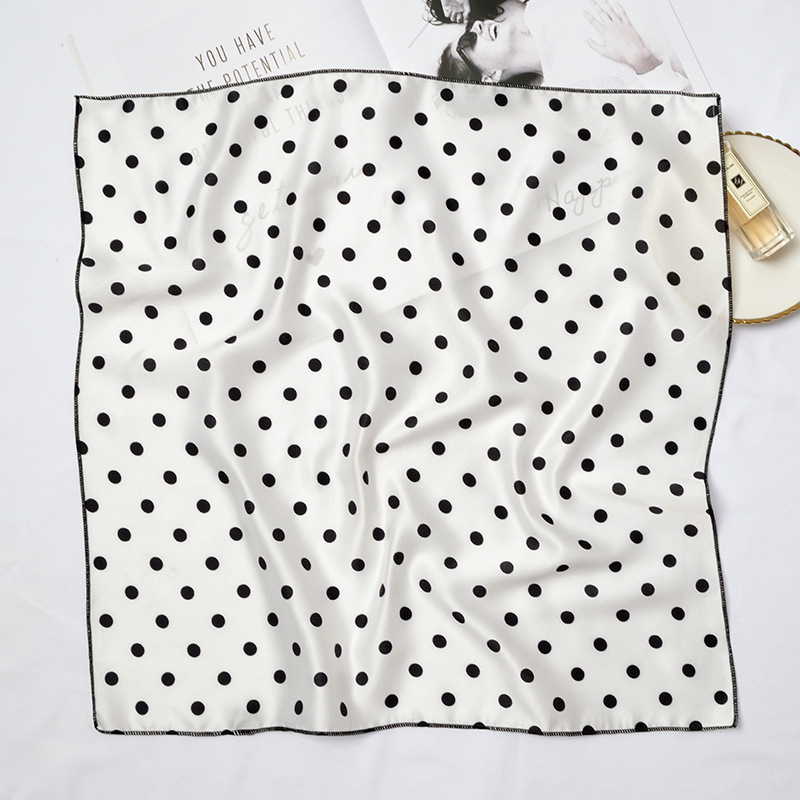 Small Kerchief 50x50cm Wave Point Hijab Women Korea Neck Head Scarf More Function Scarves Foulard Femme Woman Bandana Print Wrap in Women 39 s Scarves from Apparel Accessories
