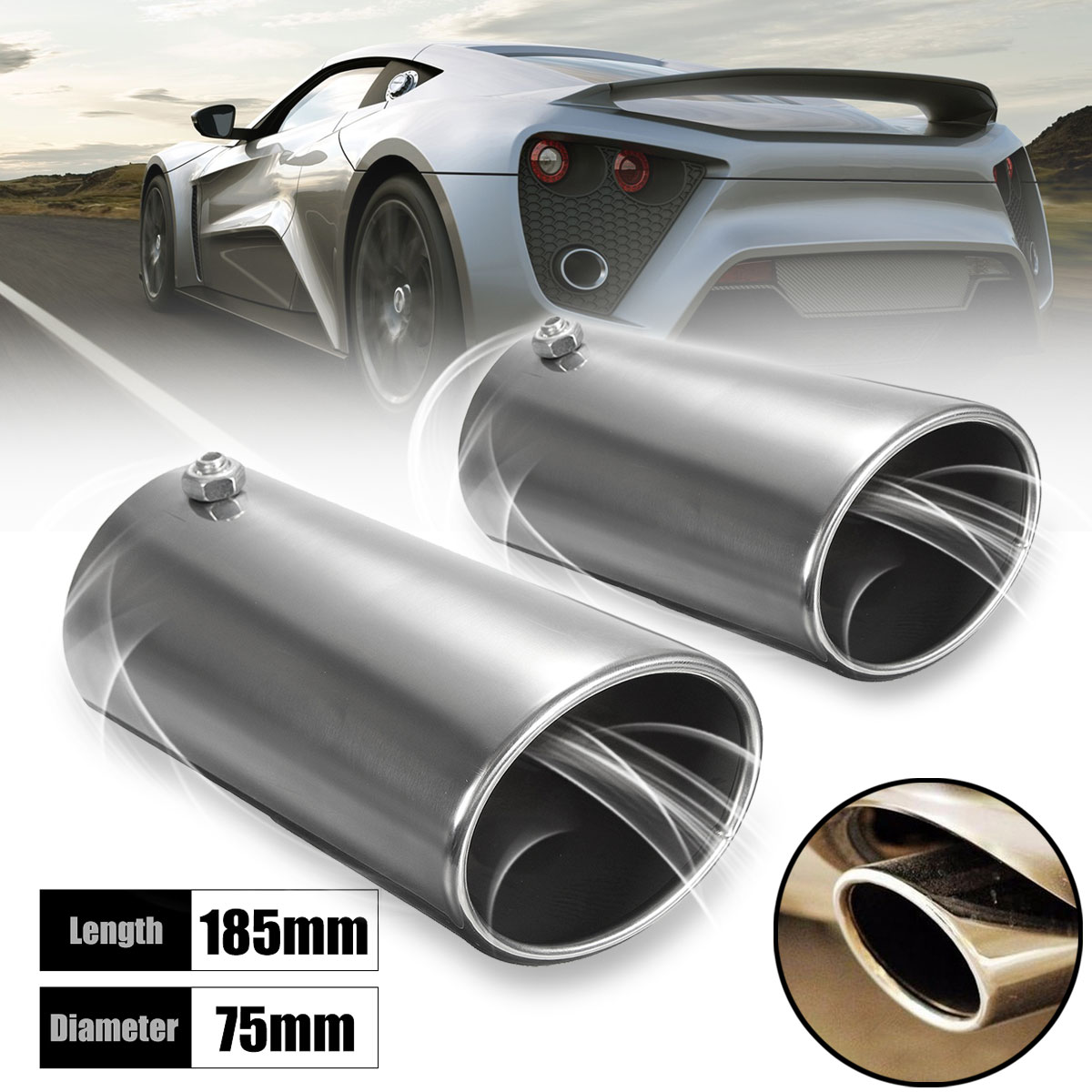 57mm 60mm Exhaust Pipe Tip Chrome Car Straight Tail End Trim rolled end cover