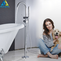 Chrome Floor Mounted Bathtub Mixer Tap Free Standing Bathroom Hot Cold WaterFaucet W/Hand Held Shower Swivel Spout
