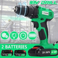 18V 10mm Two Speed Cordless Drill Home DIY Electric Screwdriver Mini Impact Hammer Power Driver Tool Lithium Batteries