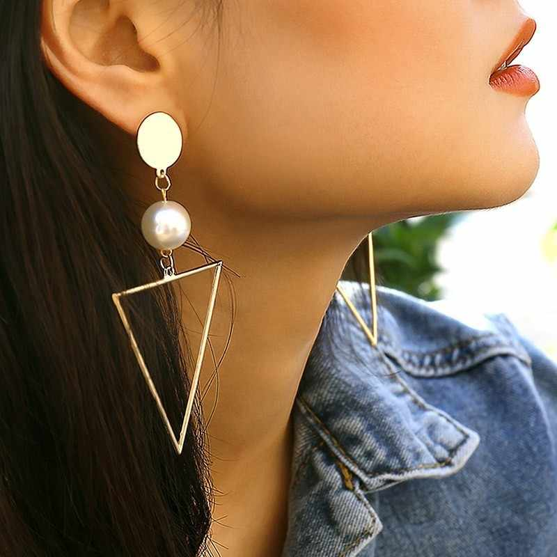 JOUVAL New Personality Geometric Triangle Long Drop Earrings Women Boho Simulated Pearl Elegant Vintage Jewelry Eardrop Brincos