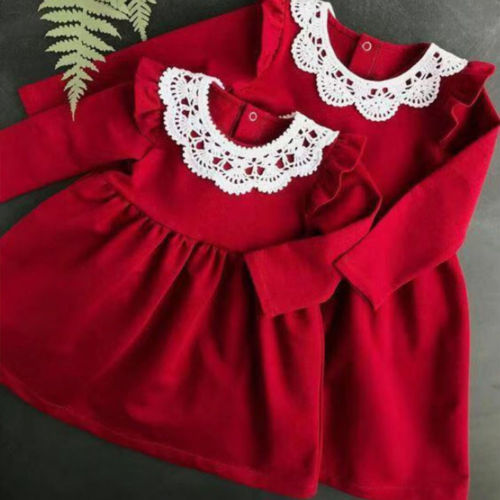 New 2018 Famliy Matching Outfit Women Girls Xmas Red Dress Mother Daughter Christmas Party Dresses