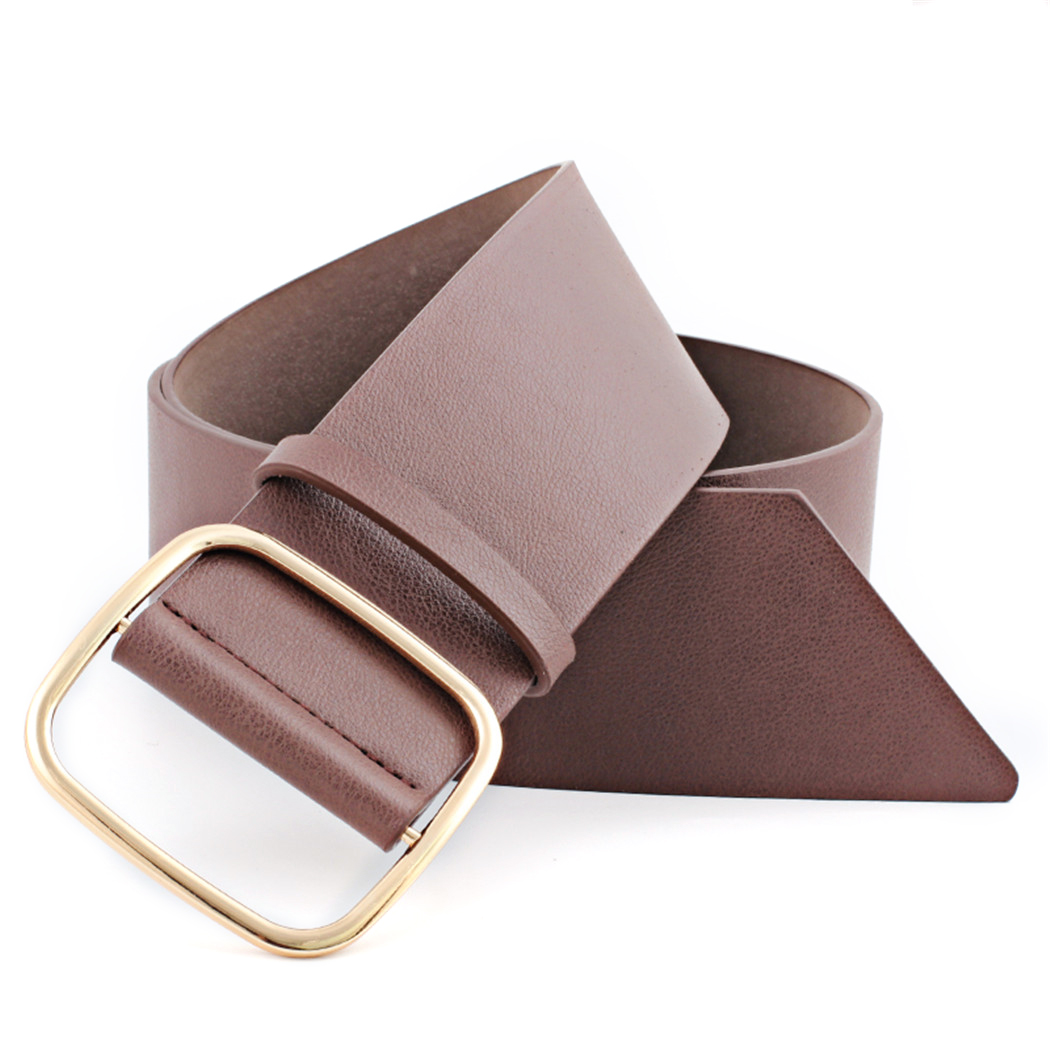 New Faux Leather Belts For Women Metal Square Buckle Wide Belt Waist Strap Fashion Ladies Belt Solid For Dress Jeans Waistband