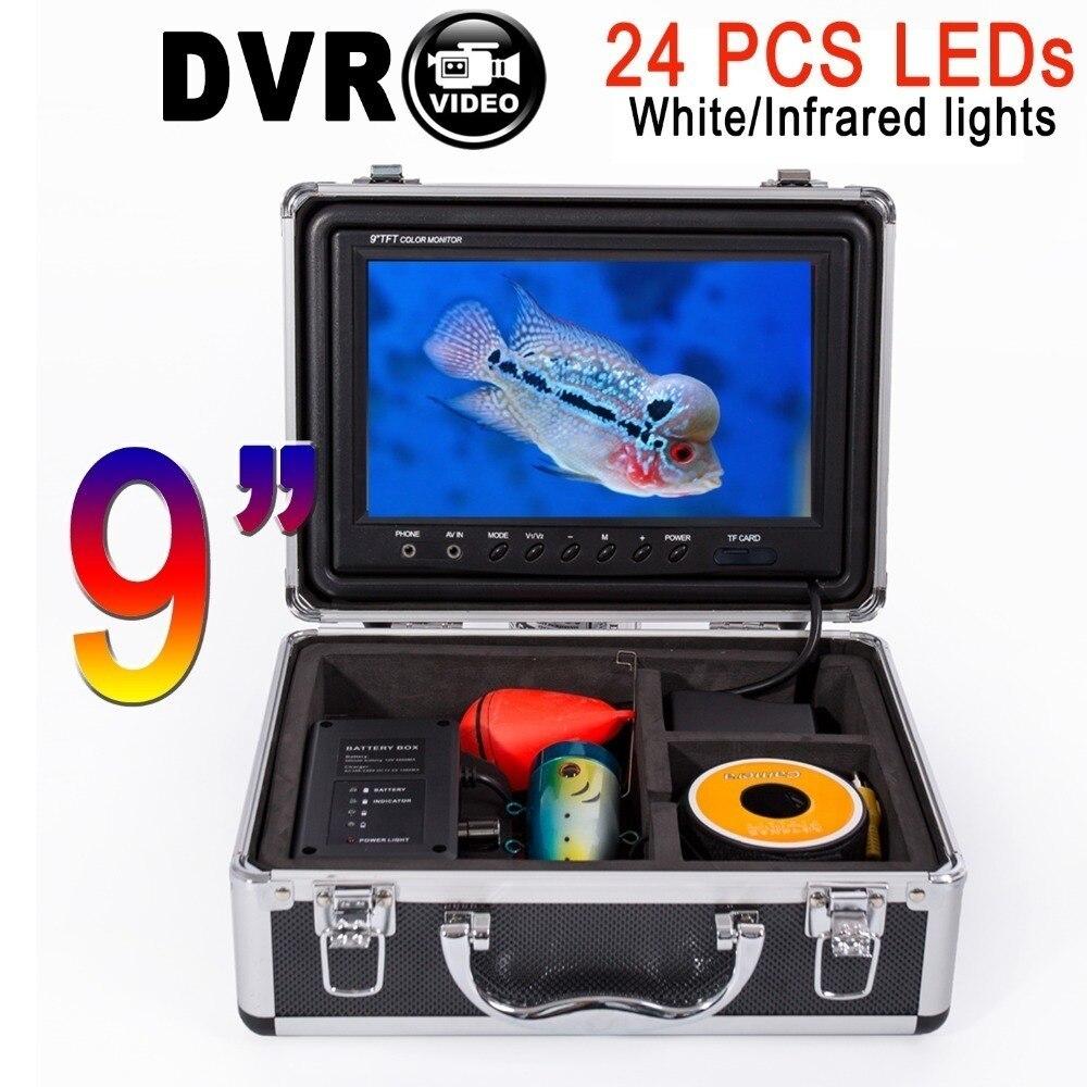 SYANSPAN D'origine 9 15/30/50 M Câble Sondeur DVR HD 1000TVL détecteur de poissons Sous-Marine Glace De Pêche caméra vidéo kit 24 Blanc Led