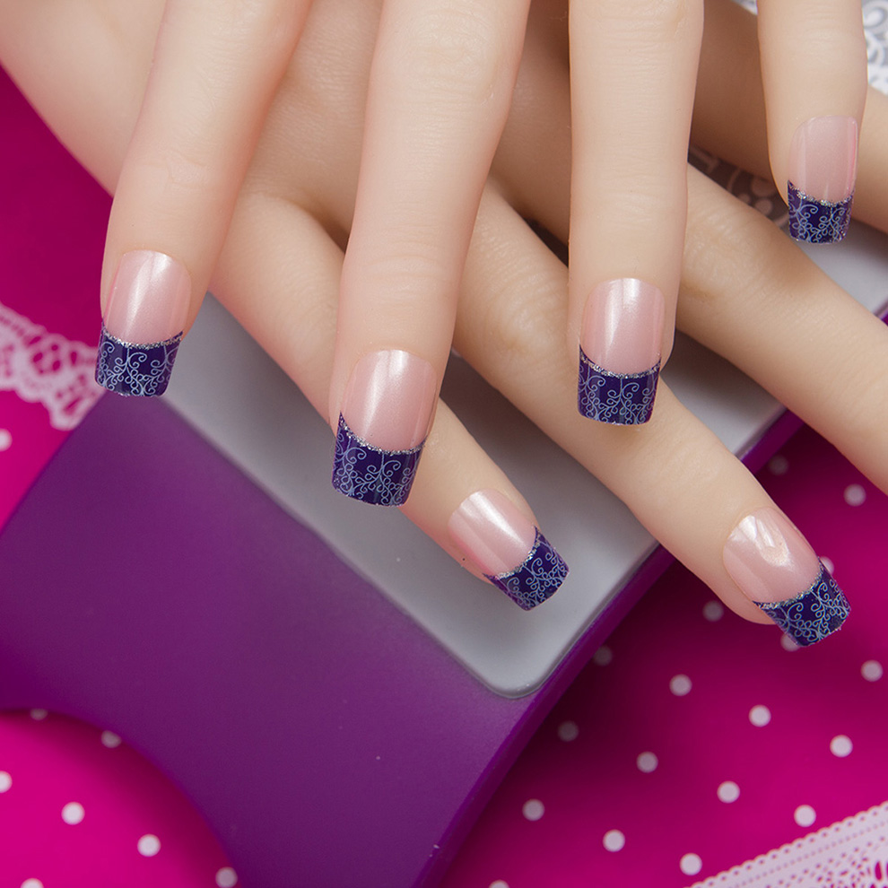 Мода 24 шт./компл. 10 размеров поддельные ногти полное покрытие французские накладные наконечники для ногтей с двухсторонней клейкой наклейк...