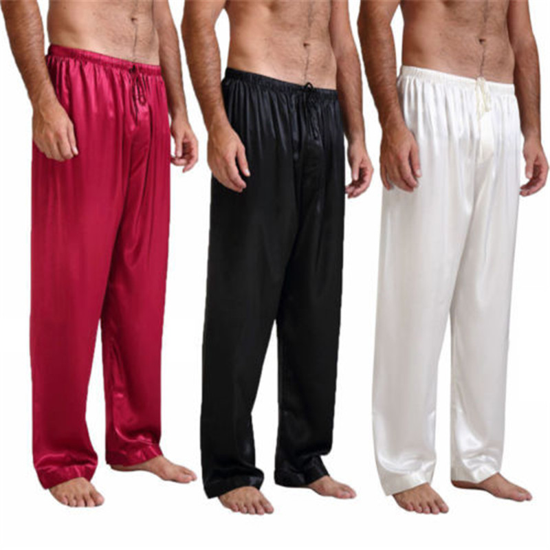 Popular Causal Solid Fashion Loose Fall Summer Mens Silk Satin Pajamas Pyjamas Pants Sleep Bottoms Nightwear Sleepwear Trousers
