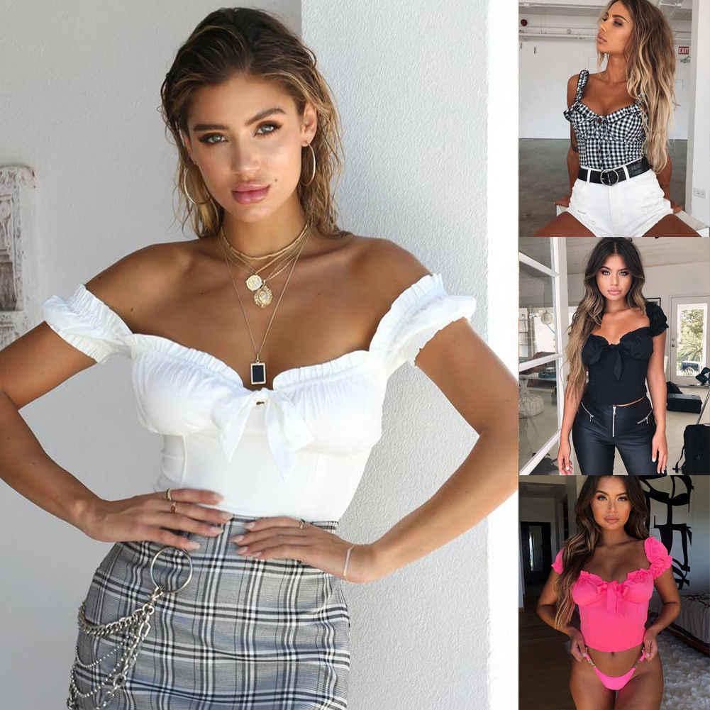 Nieuwe Vrouwen Sexy Off Shoulder Casual Bralet Tank Top T-Shirt Crop Cami Tops Verstoorde Solid Vrouwen Camis