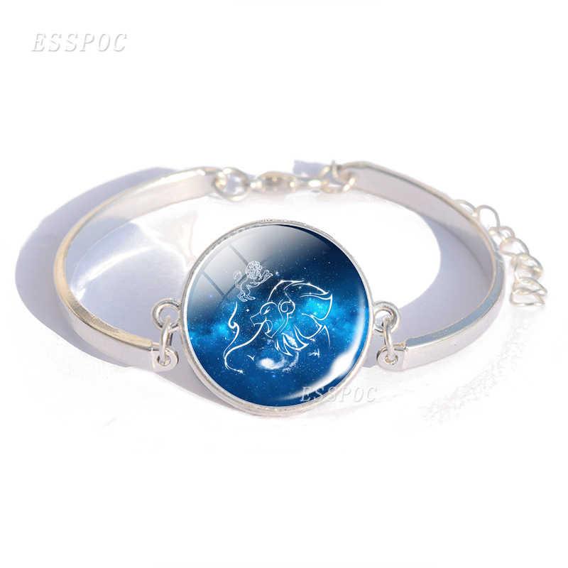 מזלות צמידי קסם זכוכית קרושון פלדת צמיד צמיד בתולה מאזניים עקרב 12 קונסטליישן תכשיטי מתנת יום הולדת