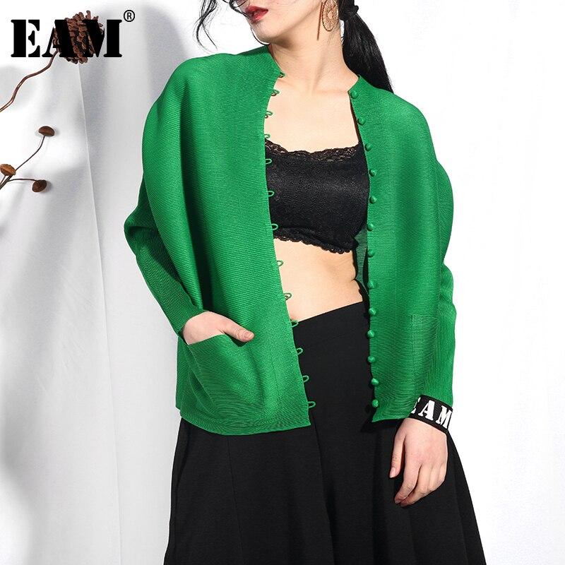 [EAM] 2019 nouveau printemps été col rond manches longues vert lâche bouton grande taille plissée chemise femmes Blouse mode marée SA56