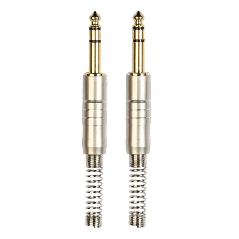 ALLOYSEED 2pcs 6.35mm Stereo Metal Connector Male Audio Plug Wire Connector w/Spring Audio Plug Wire Connector Microphone Wire