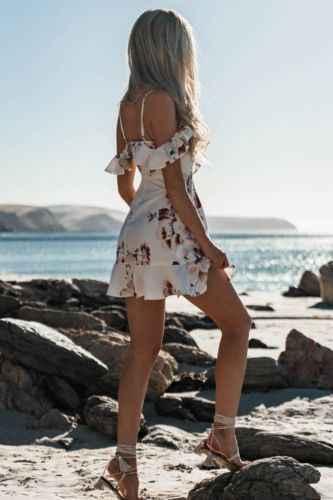 קיץ נשים סקסי שמלות Off 2019 כתף תחבושת המפלגה מיני פרח מזדמן חוף קצר מיני שמלת נשים בגדי קיץ