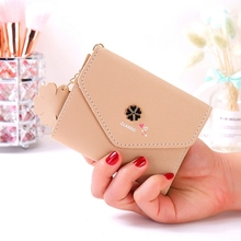 Sweet Ladies Wallet Short Flower Pendant Mini Card Package 3 Fold