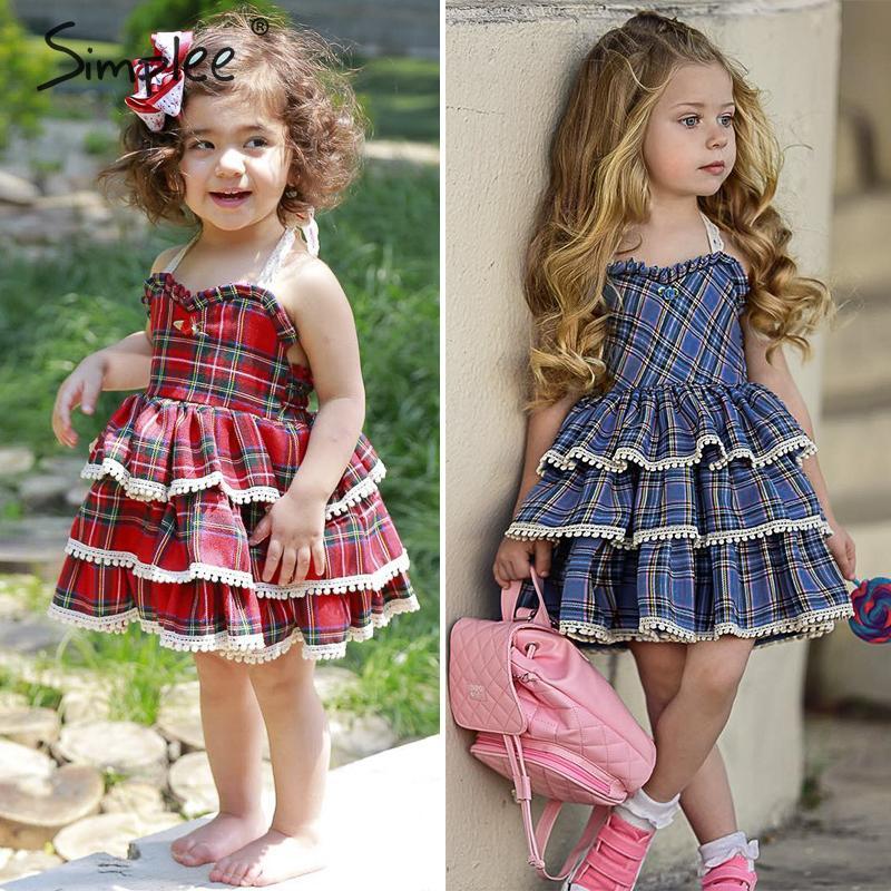 Винтажное клетчатое летнее хлопковое платье для девочек, милое детское платье в британском стиле с рюшами, модное милое красное платье без ...