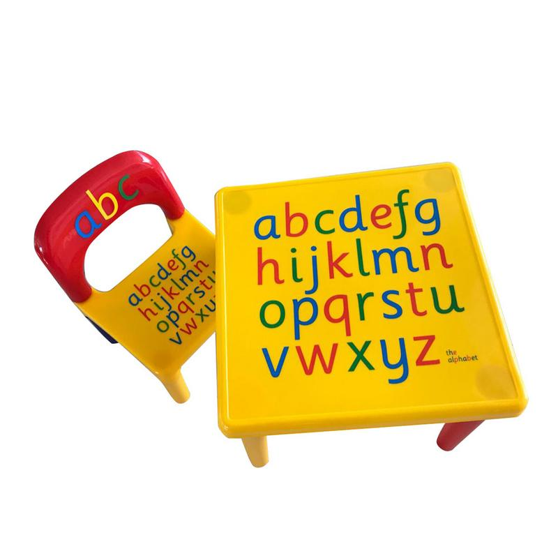 Children Letter Table Chair Set Yellow & Red Made Of High Quality Plastic Material Durable And Non-toxic Gift For Children