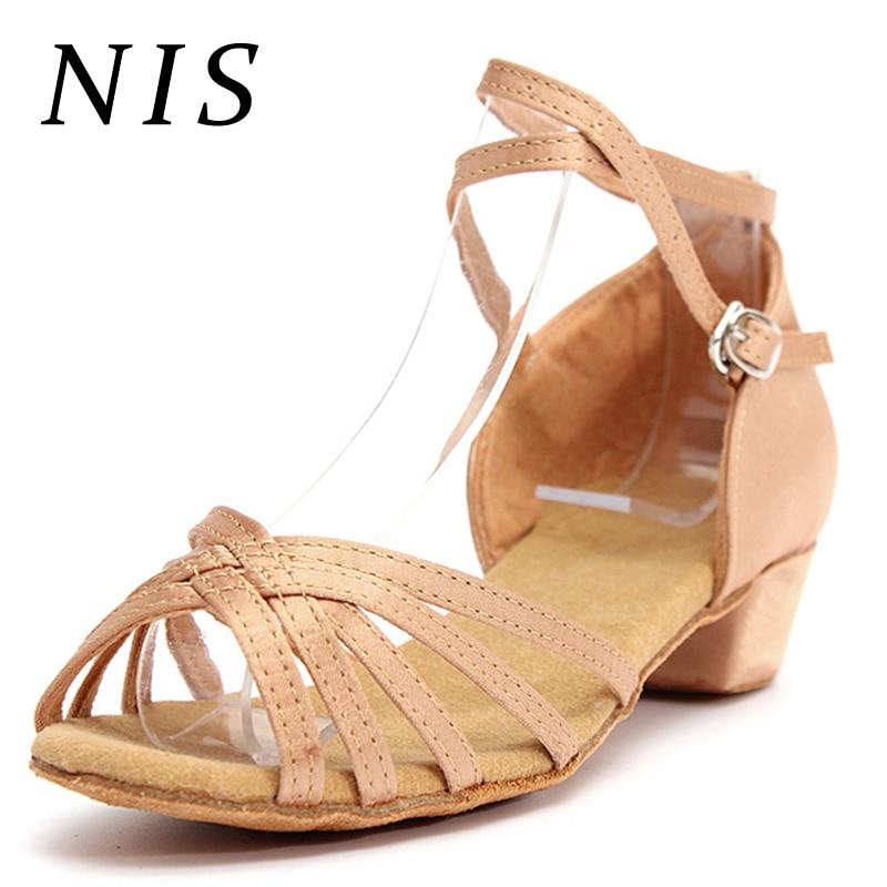 NIS Sandals Women Strap Heeled Ladies Shoes Peep-Toe New Salsa Tango Ballroom Latin Girl
