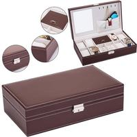 Jewelry Box 8 Slots Watch Organizer Ring Necklace Display Box Storage Case With Lock And Mirror For Men Women Brown