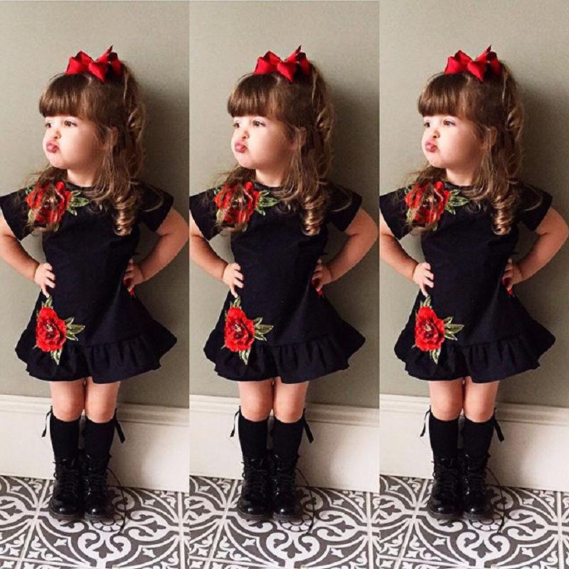 Pudcoco Girl Dress USA Toddler Kids Baby Girls 3D Flower Summer Party Dress Sundress Clothes 0-4T