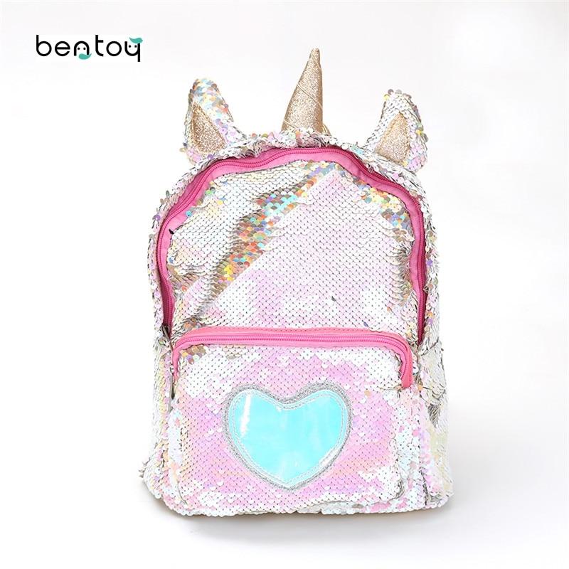 New Sequins Unicorn Backpack Women Pu Leather Mini Travel Soft Bag Fashion Schoolbag For Teenager Student Girls Book Bag Satchel