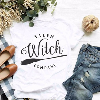 Salem Witch Company Shirt thanksgiving Halloween party women fashion slogan Flying broom harajuku t-shirt graphic tees top-J043 image