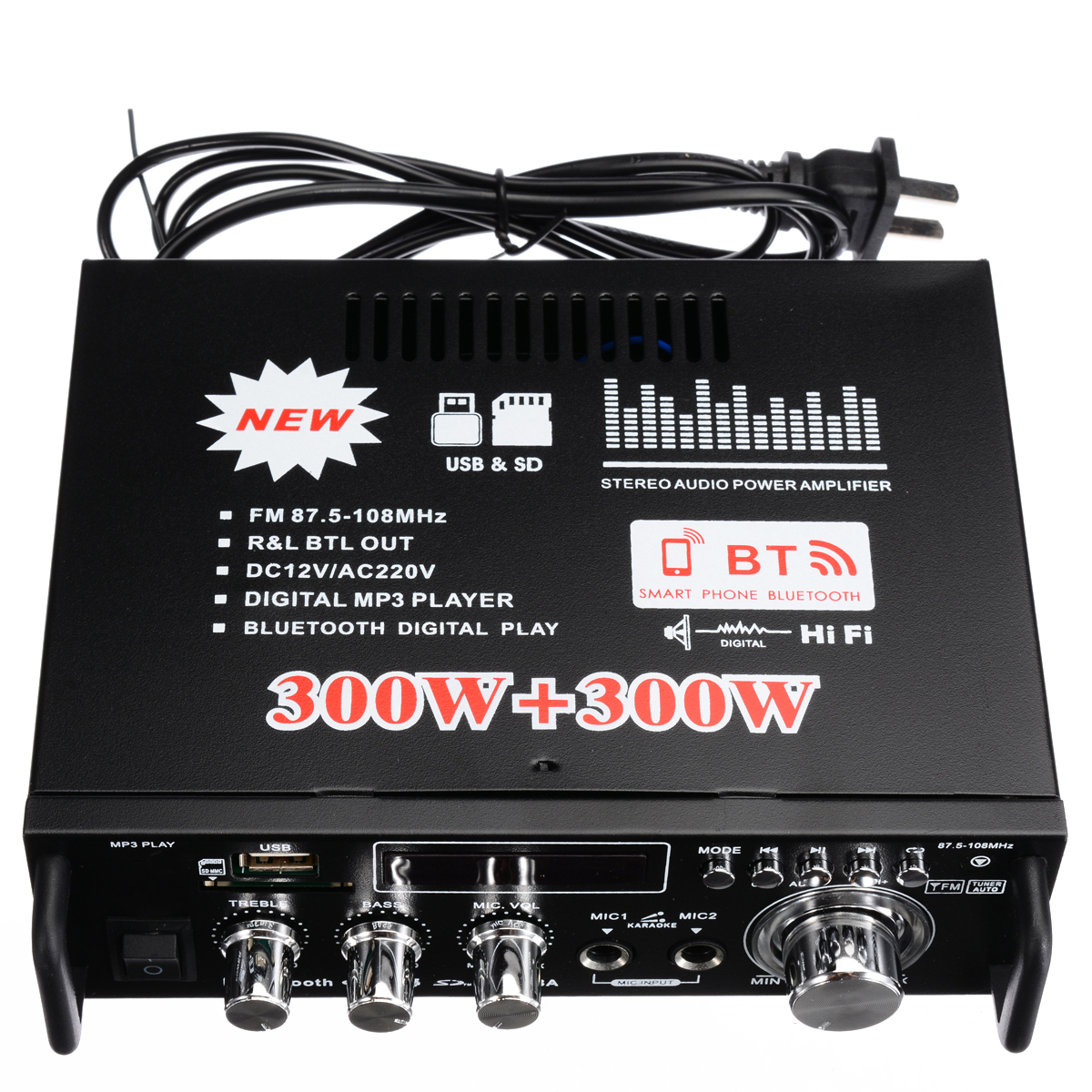 600W 2CH bluetooth Stereo Digital Power Amplifier AMP USB SD FM Stereo Radio For Car Home Theater Amplifiers in Amplifier from Consumer Electronics