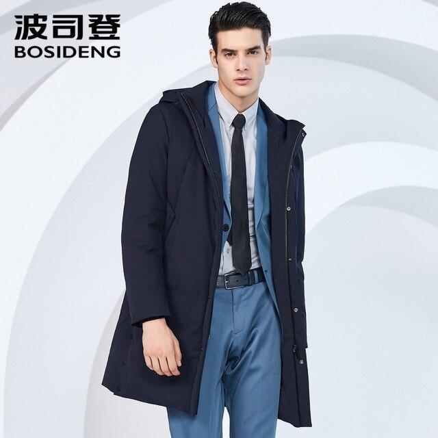 BOSIDENG мужская повседневная зрелый бизнес куртка на гусином пуху длинные зимние теплые пуховик сплошной цвет водонепроницаемый ветровка B80141133