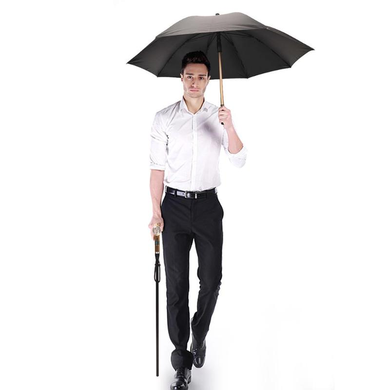 1 pcs Intelligent Rechargeable Crutches Multi functionCarbon Fiber Umbrella with Alarm LED Flashlights Walking Stick for