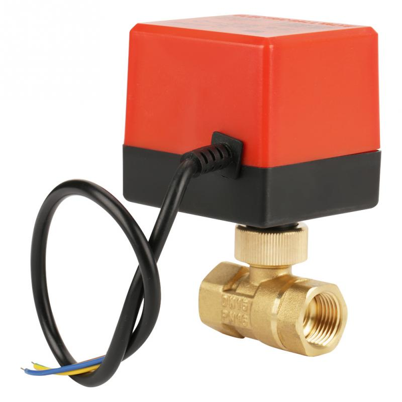 DC 12V G1/2 DN15 Brass 2 Way Motorized Ball Electrical Valve For Flow Control Tools High Quality For Hvac Fan Coil Neutral Wire