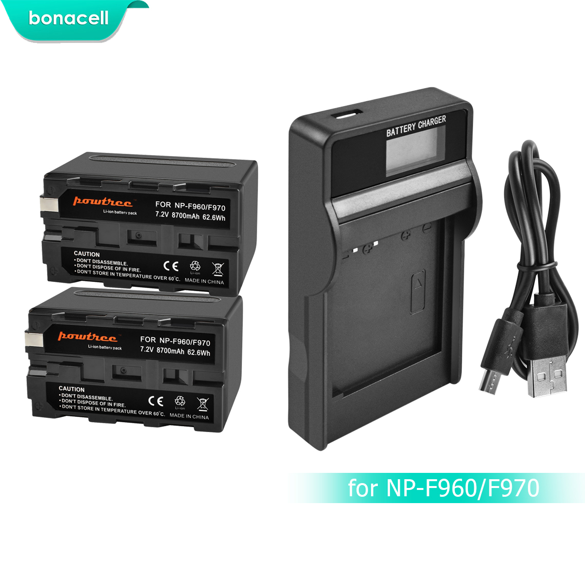 Bonacell 7 2V 8700mAh NP F960 NP F970 NP F960 F970 F950 Battery LCD Charger For