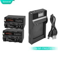 Bonacell 7.2V 8700mAh NP F960 NP F970 NP F960 F970 F950 Battery+LCD Charger For Sony PLM 100 CCD TRV35 MVC FD91 MC1500C L10
