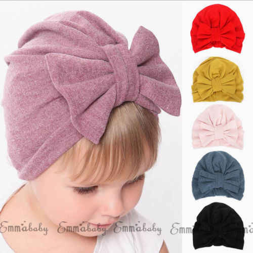 Cute Newborn Toddler Kids Baby Boys Girl BIG Bowknot Turban Skull Caps  Cotton Beanie Hats Toddler 10b34cf7920a