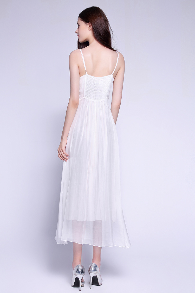 Femme Nu Perles Plage White Soie En Maxi De Vacances Bohème D'été S 50 Blanc Vintage Robe Femmes Dos Pur Sexy qwFUT008