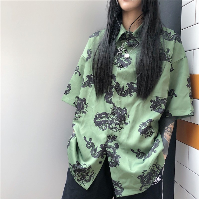 Vintage Print Short Sleeve Women Shirt Korean Fashion Casual Loose Street Shirts