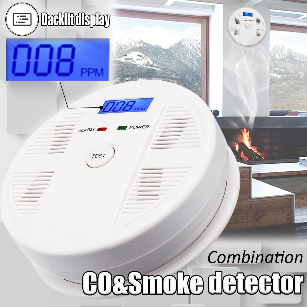 Rilevatore di fumo Sensore di Gas CO Monossido di Carbonio Avvelenamento Allarme Rivelatore LCD Fotoelettrico Indipendente 85dB Avvertimento Ad Alta Sensibilità