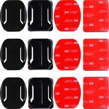 Adhesive Mounts Per GoPro 8 7 6 5 4 Curvo Appartamento Supporti 3M Sticky Pad per Go Pro Xiaomi yi SJCAM Macchina Fotografica di Azione Casco Bordo di Auto