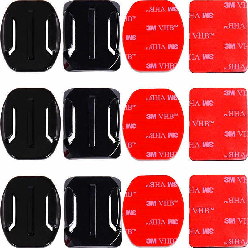 Supports adhésifs pour GoPro 8 7 6 5 4 supports plats incurvés 3M tampons collants pour Go Pro Xiaomi Yi SJCAM Action caméra casque voiture