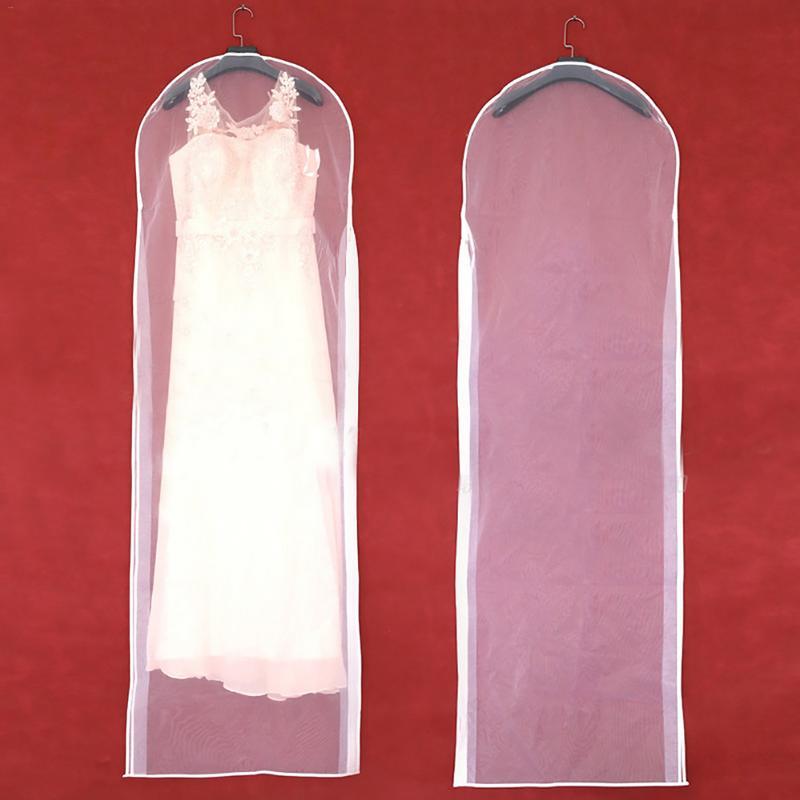 Dubbelzijdige Transparante Tule Kristal Garen Bruiloft Bruids Jurk Stofkap Met Rits Voor Thuis Garderobe Gown Opbergtas