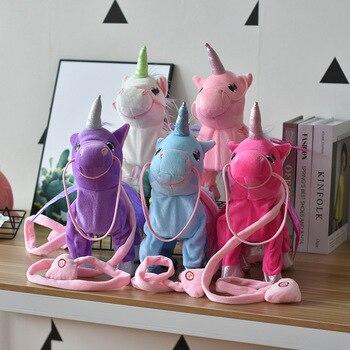 Lindo unicornio eléctrico que camina de peluche unicornio caballo de juguete de peluche Animal electrónico unicornio muñeca juguetes de canción para niños regalos