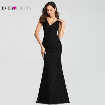 921f2be68 Sexy vestidos de noche bonito EZ07795BK 2019 sirena Cuello V sin mangas ver  a través de