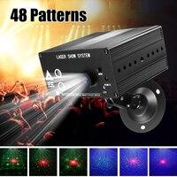 48 узор лазерной пульт ДУ проектора/реагирующий на Звук светодиодный диско-свет RGB DJ вечерние рождественское Освещение сцены лампы украшени...