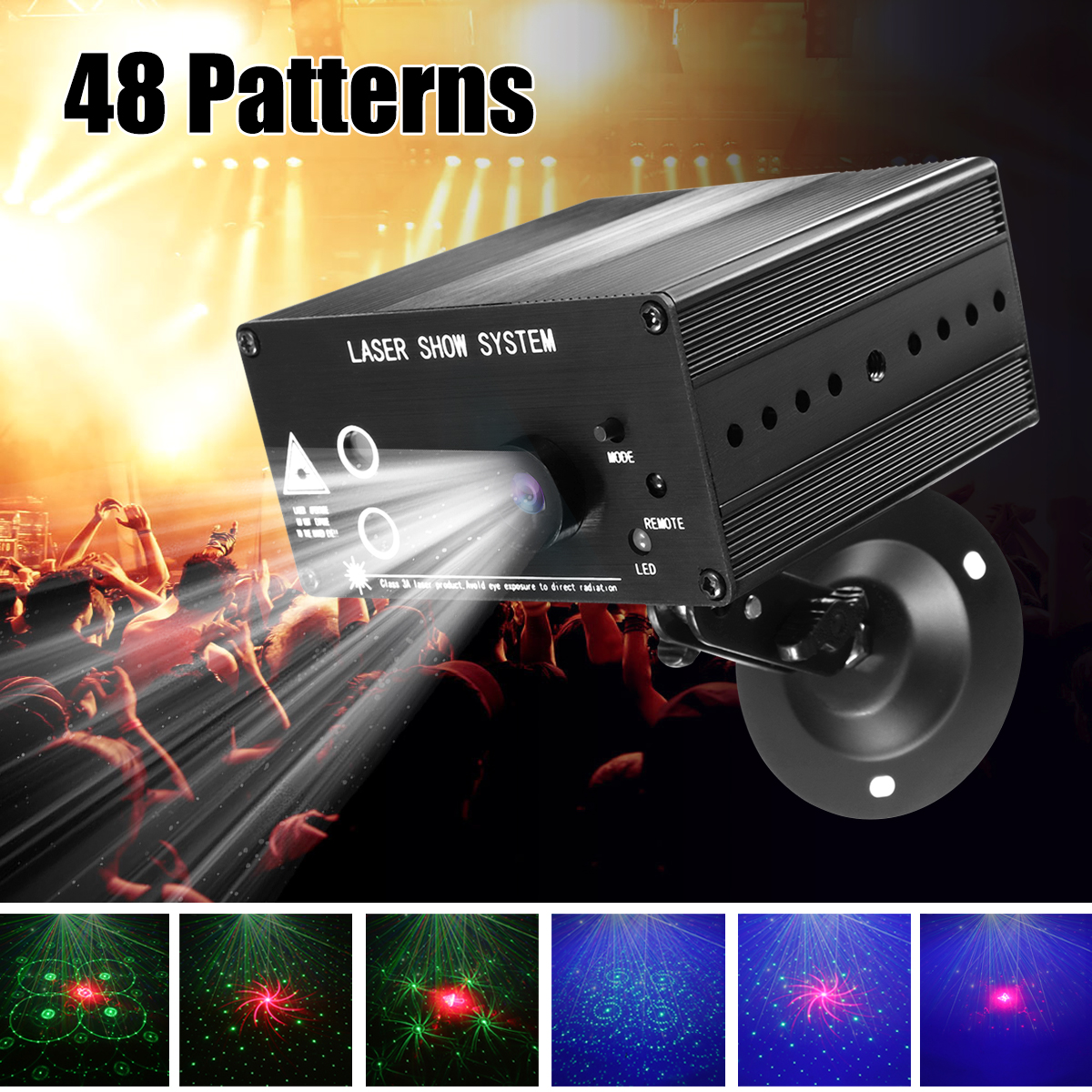 48 Pattern Laser Projector Remote/Sound Actived  LED Disco Light RGB DJ Party Stage Light Christmas Lamp Decoration UK/US/EU