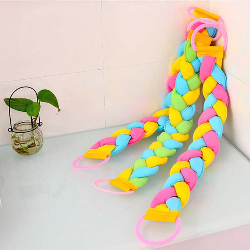 75*8 سنتيمتر تنظيف الجزء الخلفي تويست حمام الإسفنج منشفة استحمام فرك فرشاة التراجع قطاع فرك عودة حزام الحمام أدوات D5
