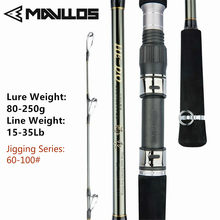 MAVLLOS Superhard Saltwater Spinning Fishing Rod Lure Weight 80-250g Portable 2 Sections Sea Boat Fishing Jigging Rod