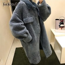 TWOTWINSTYLE Faux Lamb Fur Overcoat Women Long Sleeve Mink Fur Collar Plus Thick Warm Korean Fashion Coats Female 2018 Winter