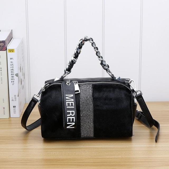 Женские кожаные сумки, новая сумка ведро из конского волоса с бриллиантами, меховая сумка на плечо с цепочкой, зимняя винтажная сумка мессенджер из Бостона