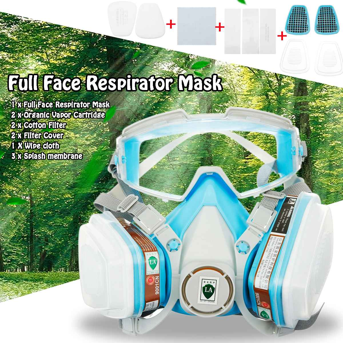 Silicone Full Face Respirator Gas Mask Goggles Comprehensive Cover Paint Chemical Pesticide Mask Anti Dust Protective Mask