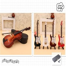 Miniature Violin/Electric Guitar Model Wooden Replica with Stand and Patent Leather Case Dollhouse Accessories Christmas Gifts