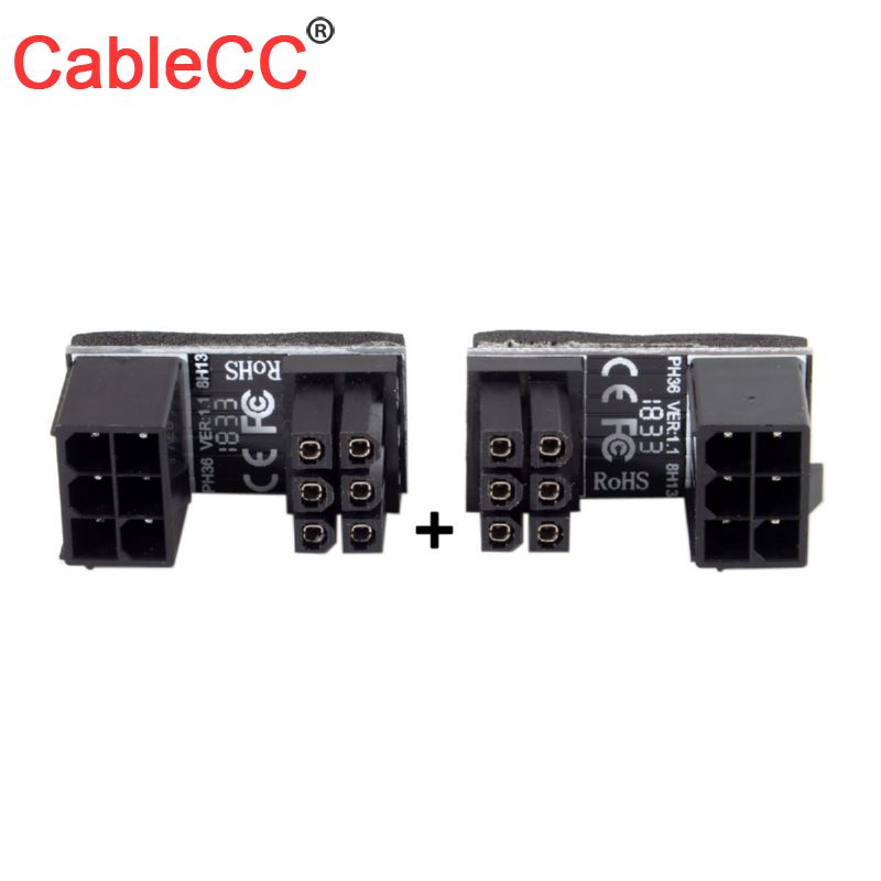 Cablecc ATX 12V 6 pin <font><b>CPU</b></font> EPS P4 Power Extension Cable 6pin 180 Degree Angled Power <font><b>Adapter</b></font> for Desktops Graphics Card image