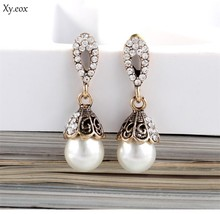 Vintage Jewelry Gray/White Imitation Pearl Earrings Women Wedding Earings(China)